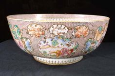 Fine Chinese Export Famille Rose Punch Bowl, Late 18th Century | From a unique collection of antique and modern bowls at https://www.1stdibs.com/furniture/dining-entertaining/bowls/