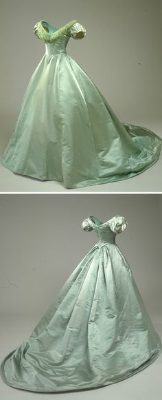 Green ball gown belonging to Queen Louise of Denmark, (Nationalmuseet - København, Denmark) 1800s Fashion, 19th Century Fashion, Victorian Fashion, Vintage Fashion, 17th Century, Old Dresses, Pretty Dresses, Beautiful Dresses, 1800s Dresses