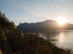 Sonnenuntergang Wanderung Traunstein River, Celestial, Sunset, Outdoor, Hiking, Stones, Outdoors, Sunsets, Outdoor Games