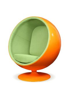 "Sphere Pop Chair, Pearl River Modern NY. Retro lounge chair in a space-age pod design. Molded fiberglass shell and base with integrated swivel mechanism. Fabric lined inner shell and plush cushions. 42""W byx 29""D x 48""H"