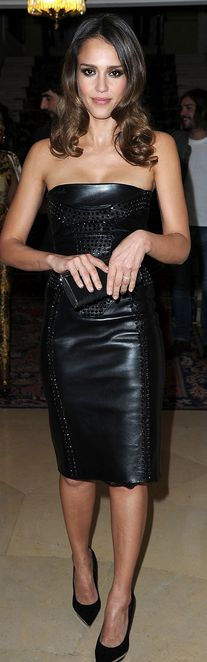 Who made Jessica Alba's black leather strapless dress and black pumps that she wore in Paris on July 1, 2012?