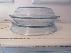 Fire King Blue Sapphire Pie Plate Lid Trivet Pretty Light Blue Pattern Glass Bakeware Pie Plate by AshleysSunroom on Etsy