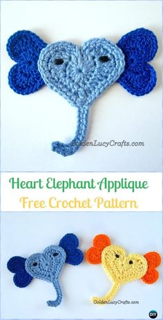 Crochet Heart Elephant Applique Free Pattern - Crochet Heart Shaped Applique Free Patterns By Golden Lucy Crafts
