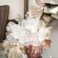 How to create your own DIY metal leaves tutorial. Using soda cans for the metal makes this an easy DIY project. DIY metal leaves for wreaths and banners. Tin Can Art, Soda Can Art, Tin Can Flowers, Metal Flowers, Aluminum Can Crafts, Metal Crafts, Aluminum Cans, Pop Can Crafts, Fall Crafts