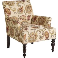 Pier 1 Imports Liliana Orange Jacobean Armchair ($400) ❤ liked on Polyvore featuring home, furniture, chairs, accent chairs, ivory, pier 1 imports furniture, orange chair, cream chair, beige armchair and patterned accent chairs