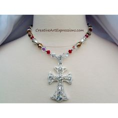 Sold $25.00 Creative Art Expressions Handmade Red Gold & Bright Silver Cross Necklace Jewelry Design