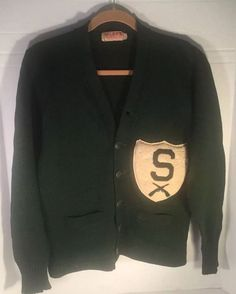 Vintage MICHIGAN STATE LETTERMAN Rare 1940's Football Sweater 100% WOOL Size 42