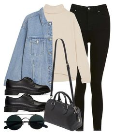 """#14180"" by vany-alvarado ❤ liked on Polyvore featuring Topshop, Brunello Cucinelli, Monki, Dr. Martens and Mulberry"