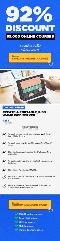 Create a Portable /USB WAMP Web Server Development Tools, Development #onlinecourses #onlinetraininglink #onlinelearningcollege  Lean how to launch a portable web server in minutes Disclaimer: This course is based onUniServer Zero WAMP suite; as this is the only really portable suite I could find... This course presents how you can create a portable WAMP web server in a USB flash drive. Imagine ...