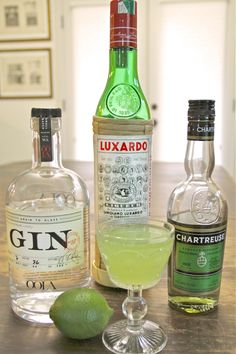 The Last Word  3/4 ounce gin 3/4 ounce Luxardo Maraschino Liquer 3/4 ounce Green Chartreuse 3/4 ounce freshly squeezed lime juice Shake with ice, and strain into a chilled glass.  No garnish needed.