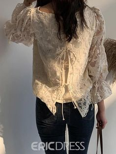 Ericdress Lace Flare Sleeve Round Neck Nine Points Sleeve Standard Blouse Casual Tops For Women, Blouses For Women, Kebaya Modern Dress, Sewing Blouses, Stylish Dresses For Girls, Night Dress For Women, Blouse Dress, Blouse Designs, Hijab Bride