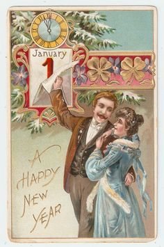 Vintage Antique Tuck 1910 Postcard 'New Year Greetings' Couple Clock Clover | eBay