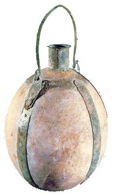 2000-1550 BCE. Bottle made of an ostrich egg. The bands, handle and neck are made of bronze. The blending of Syrian elements with Egyptian culture created the classic Canaanite culture. Middle Canaanite Bronze 2   Period Hecht Museum, Haifa. Israel.