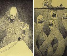 Monsters: http://www.boredpanda.com/creepy-monsters-sticky-note-drawings-john-kenn-mortensen/ // creepy-monsters-sticky-notes-drawings-don-kenn-2