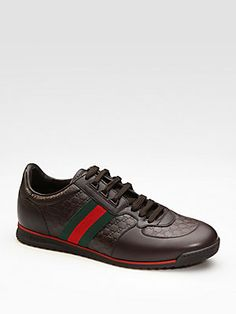 Gucci - Leather Sneaker With Web Gucci Sneakers, Gucci Shoes, Leather Sneakers, Men's Shoes, Adidas Sneakers, Gentleman's Wardrobe, Gucci Men, Best Memories, Shoe Collection