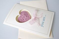 """""""you are... my heart""""  My DIY Valentine's Day crocheted heart card"""