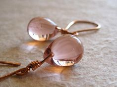 Rose gold earrings pink glass