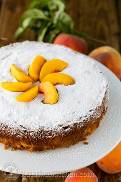 Easy Summer Peach Cake; moist, crumbly, soft and so easy! @natashaskitchen