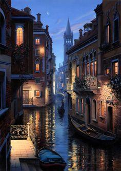 Venice, Italy at night ...