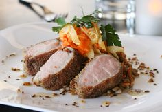 Mustard Crusted Pork ($16), coating of sweet and sour country grain mustard, farro and carrot salad. Urban Table.