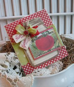 Cottage cute 3-d MASON JAR tomato seed packet HOME made garden fresh blank handmade card