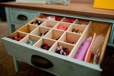 diy custom drawer organizers using hot glue, diy, organizing, Bows always need some organization Dedicate a drawer with some custom organizers and each bow will have a home