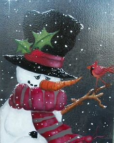 Snowman - red cardinal - snowing - handpainted wall decor - welcome sign - ooak - ready to hang