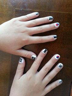 Korean flag taekwondo nails