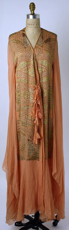 Dress (Tea Gown)  Date: 1920s Culture: American Medium: silk, metallic thread