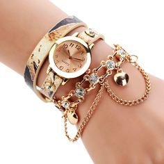 Luxury Brand Women's Watch Fashion Gold Heart Pendant Bracelet Watch Round Casual Ladies Girls Wristwatches relogio feminino
