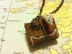 miniature leather trunk necklace