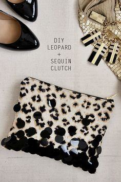 DIY: leopard + sequin zipper clutch