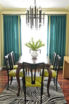 Teal and lime dining room interior with vintage re-loved chairs mixed with client's grandmother's table. Teal Curtains, Dining Room Curtains, Dining Room Colors, Dining Room Lighting, Room Chairs, Dining Room Design, Dining Set, Dining Room Table Centerpieces, Traditional Dining Rooms