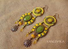 Купить Серьги Хазарка - желтый, зеленый, серьги, сережки, серьги длинные, этно, бохо, этнический
