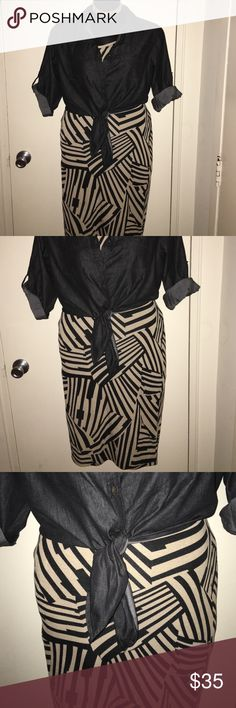 Striped bodycon dress with Jean shirt attached Midi striped dress w/Jean shirt NWOT, never worn Dresses Midi
