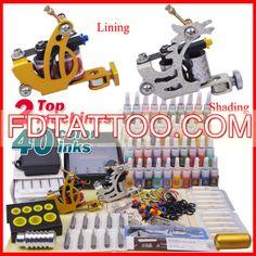Tattoo Kit 2 Machine Gun 40 Color Ink Power Supply Need  Wholesale Price:US $47.05