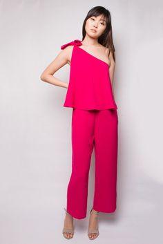 Hot Pink One Shoulder Jumpsuit