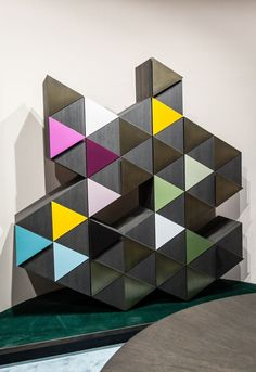 Geometric Modular Cabinet With Sculptural Unusual Shape | The Best Wood Furniture
