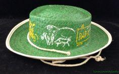 Vtg 1950s Childs Green Straw Cowboy Hat Western Bar X Ranch Broncs Sz M FR SHP #Unknown