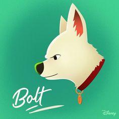 Bolt (Drawing by Disney) Cute Disney Drawings, Cute Animal Drawings, Cute Drawings, Disney Films, Disney Art, Disney Pixar, Disney Images, Disney Pictures, Bolt Disney