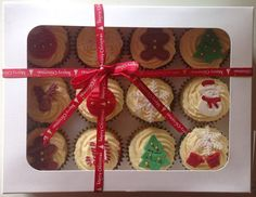 Corporate Christmas Cupcake Gift Boxes, Pre Order now. We will deliver these lovely cupcake gift boxes with a complimentary greeting card handwritten with a message of your choice. On checkout please write your gift message. Cupcake Gift, Christmas Cupcakes, Gift Boxes, Merry Christmas, Greeting Cards, Tasty, Store, Breakfast, Gifts