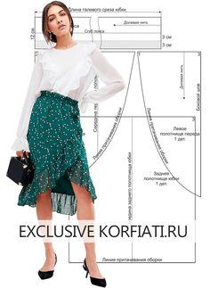 Как исшить юбку без выкройки? Модель, которую можно сшить самостоятельно всего за один день! Романтичная шифоновая юбка с оборкой и запахом - за один день.