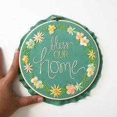 Bless Our Home. Handmade Embroidery Home Decor. Hand Embroidery by KimArt. Made To Order