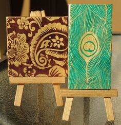 Green Peacock and Gold Flowers Mini Canvases by cutelittlecanvases, $12.00 #cute idea for a #desk at work