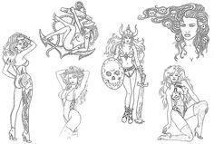 Line Art Tattoos, Tattoo Flash Art, Cool Tattoos, Vintage Tattoo Design, Chris Ware, Heavy Metal Art, Traditional Tattoo Flash, Vintage Flash, 1 Tattoo