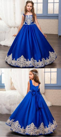 Applique Flower Girl Dresses Princess Pageant Dresses Kids' Wedding Bridesmaid Dresses Birthday Party Dresses with Bowknot,HT002 #flowergirldress#wedding#pageantdress#birthdaypartydress#ballgowns