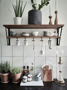 Open storage in the rustic kitchen