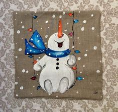 Items similar to Snowman Pillow Cover Hand-painted Snow Christmas Blue scarf on Etsy Christmas Rock, Christmas Signs, Outdoor Christmas, Christmas Decorations, Christmas Ornaments, Holiday Decorating, Christmas Cover, Snowman Decorations, Christmas Snowman