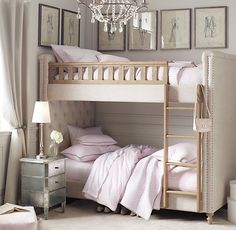 Chesterfield Upholstered Twin-Over-Twin Bunk Bed | Bunk Beds | Restoration Hardware Baby & Child