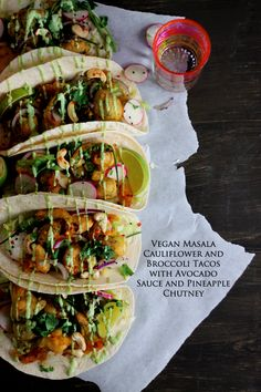 Vegan Masala Cauliflower and Broccoli Tacos with Avocado Sauce | K.O Rasoi